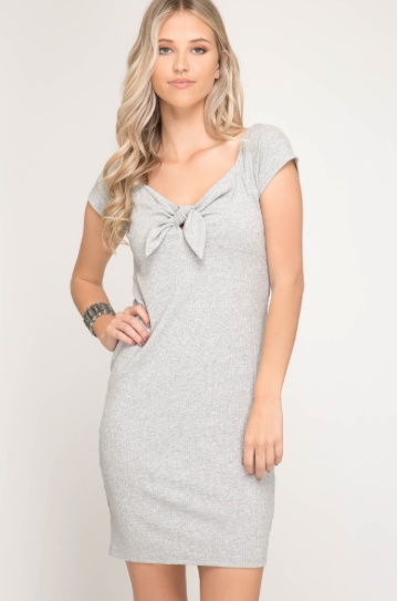 She + Sky Short Sleeve Rib Knit Bodycon Dress With Front Bust Tie