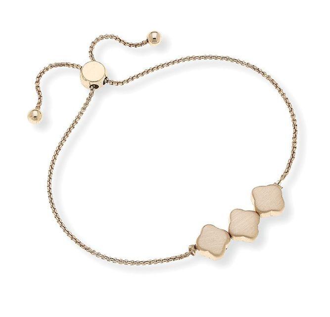 Canvas Jewelry Triple Clover Chain Bolo Bracelet