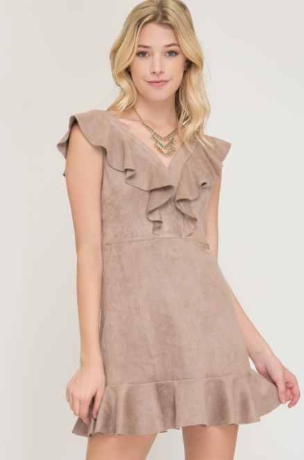She + Sky Sleeveless faux suede fit & flare dress w/ ruffle details