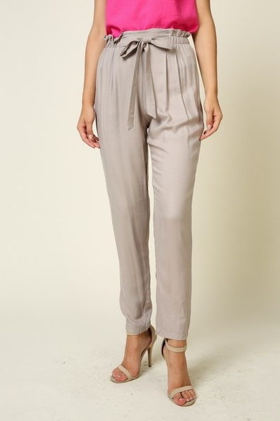 Timing high Waisted Ankle Length Pants With Tie Waist