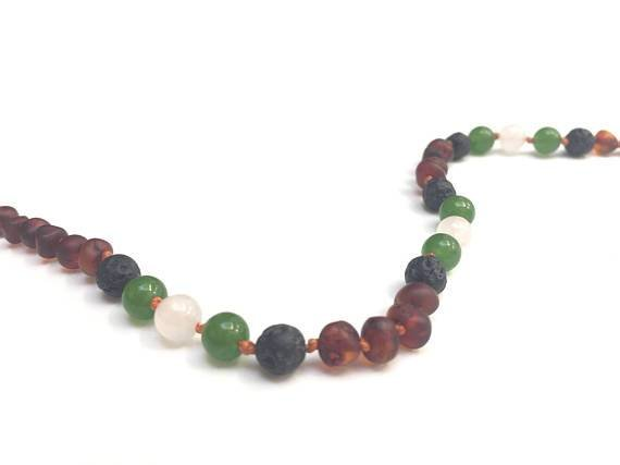 Canyon Leaf Raw Baltic Amber Adult Necklace with Agate, Jade, & Lava Stone