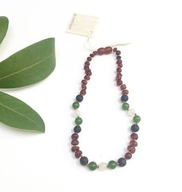 Canyon Leaf Baltic Amber Necklace with Agate, Jade, & Lava Stone