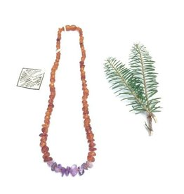 Canyon Leaf Baltic Amber Necklace with Amethyst Gems