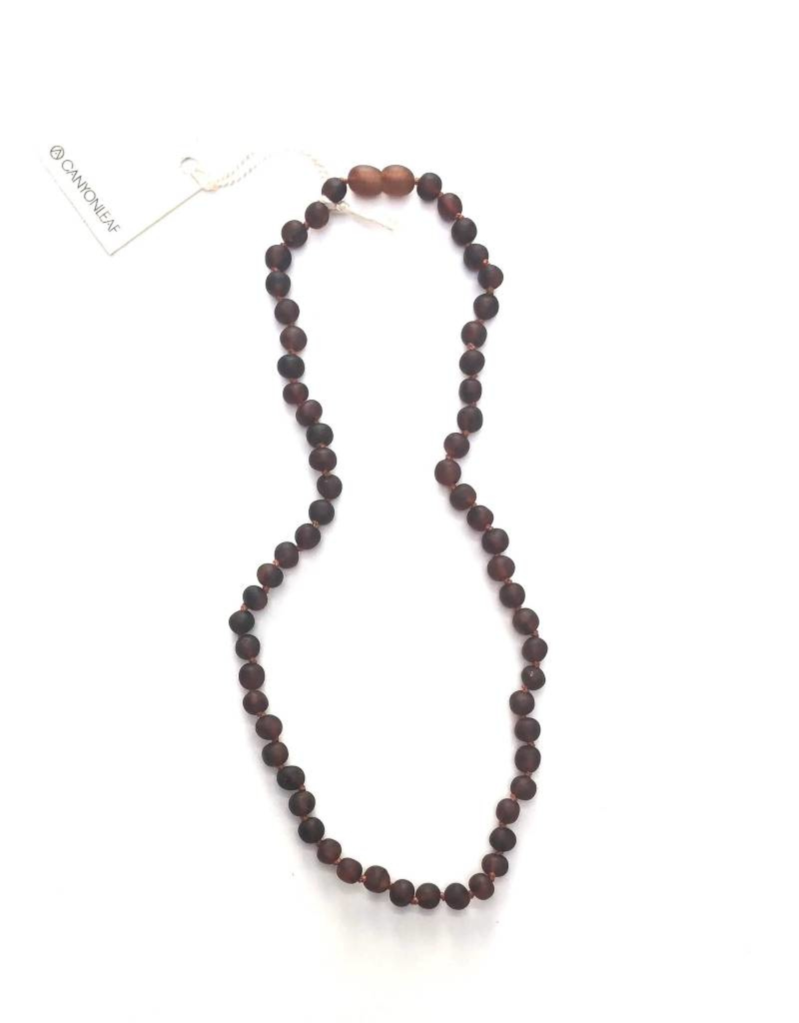 Canyon Leaf Raw Baltic Amber Adult Necklace- Simple
