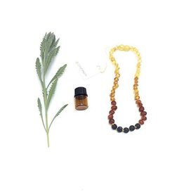 Canyon Leaf Raw Baltic Amber Adult Necklace Ombre with Lava Stone