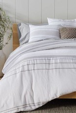 Ripple Stripe Duvet Cover- Alpine White with Gray