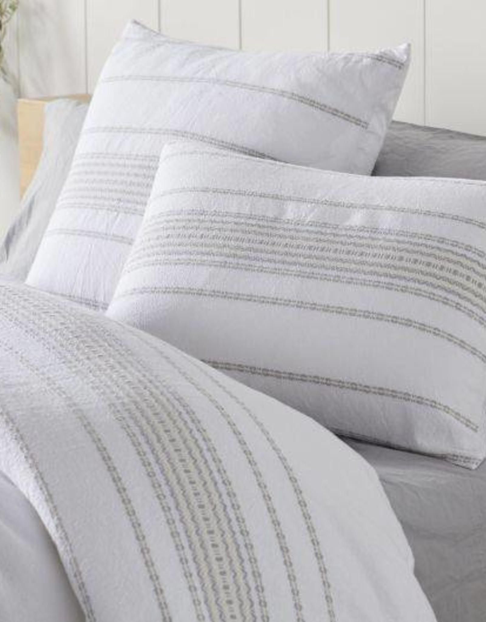 Rippled Stripe Duvet Cover- Alpine White with Gray