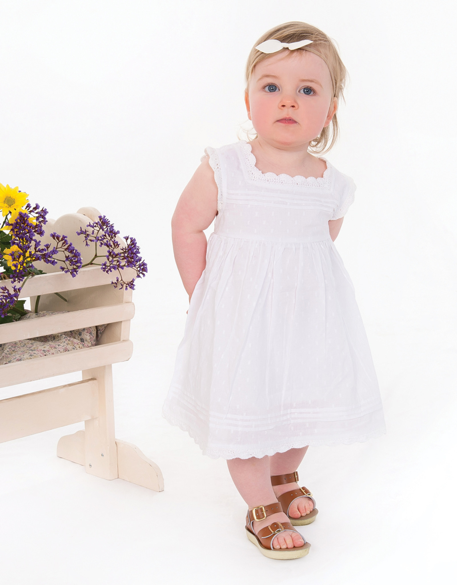 Tiny Twig White Blossom Dress with Bloomer