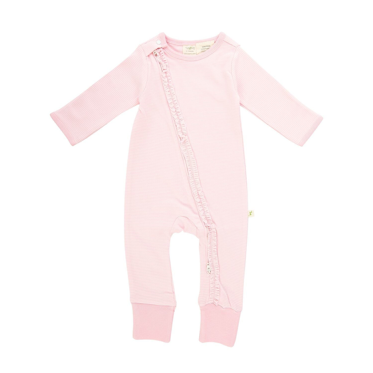 Tiny Twig Frill Zipsuit- Pink Stripes