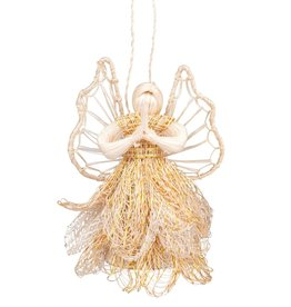 Praying Sinamay Angel Ornament