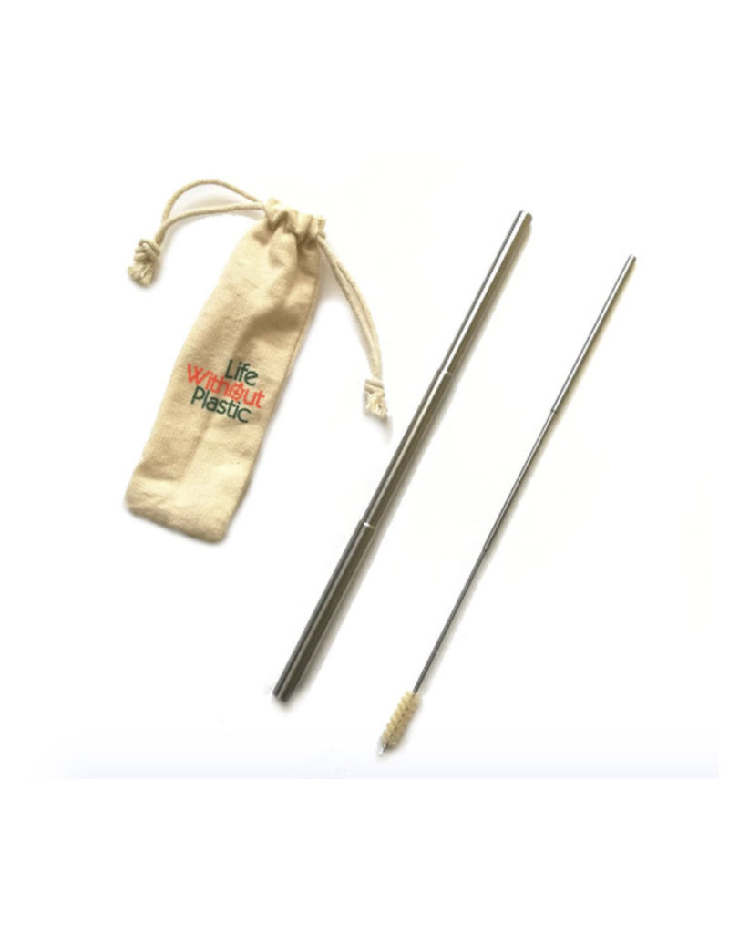 Life Without Plastic Telescopic Stainless Steel Straws with Cleaner & Pouch