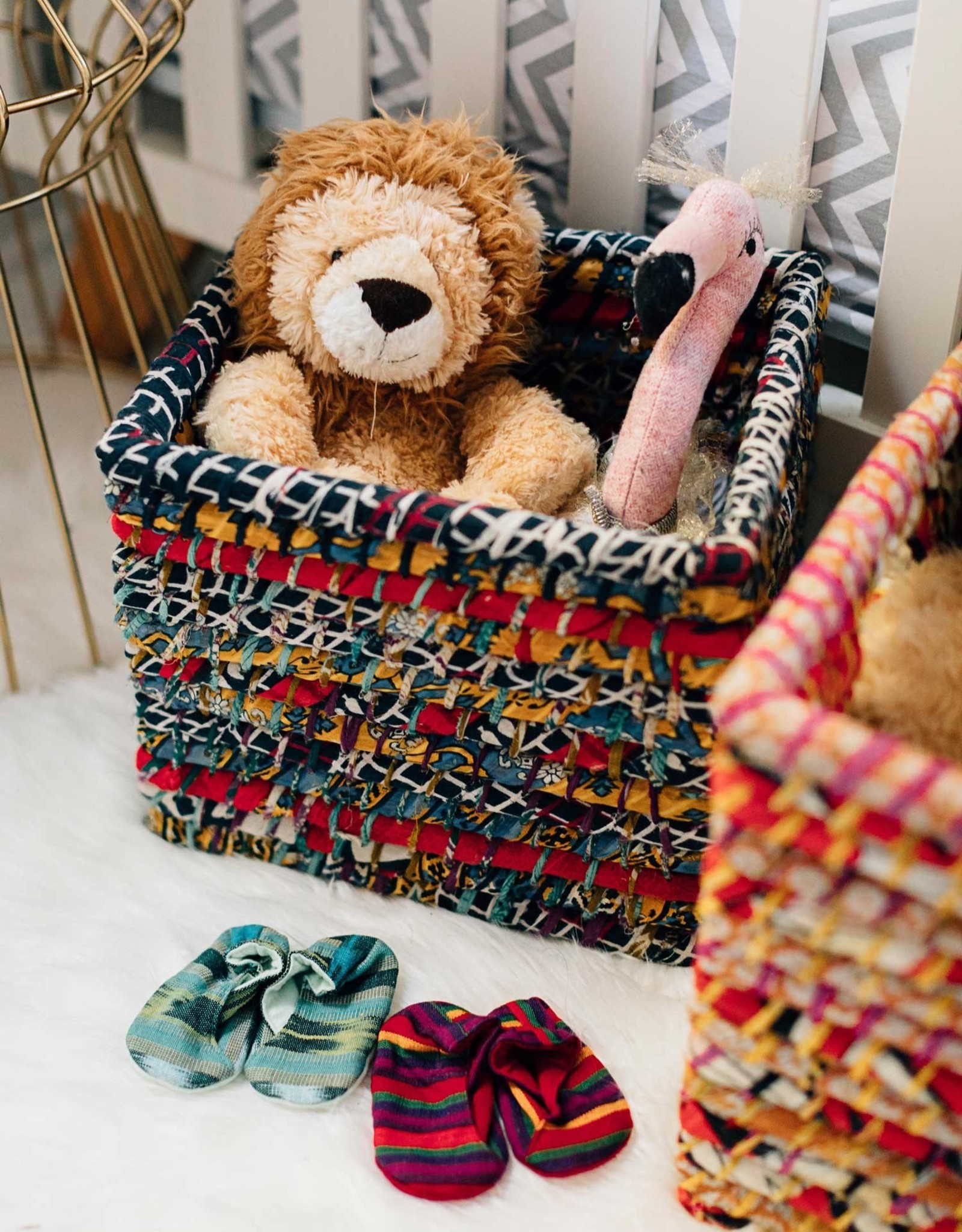 Reclaimed Sari Storage Basket Small