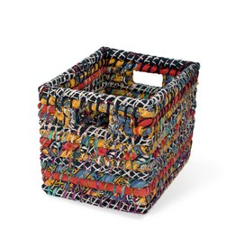 Reclaimed Sari Storage Basket Small