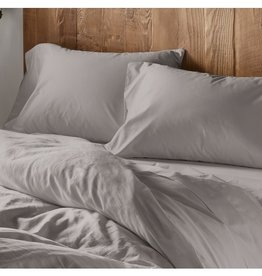 Pale Gray Sateen Duvet Cover, Queen