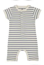 Lily & Mortimer Short Sleeve Romper- Navy Stripe