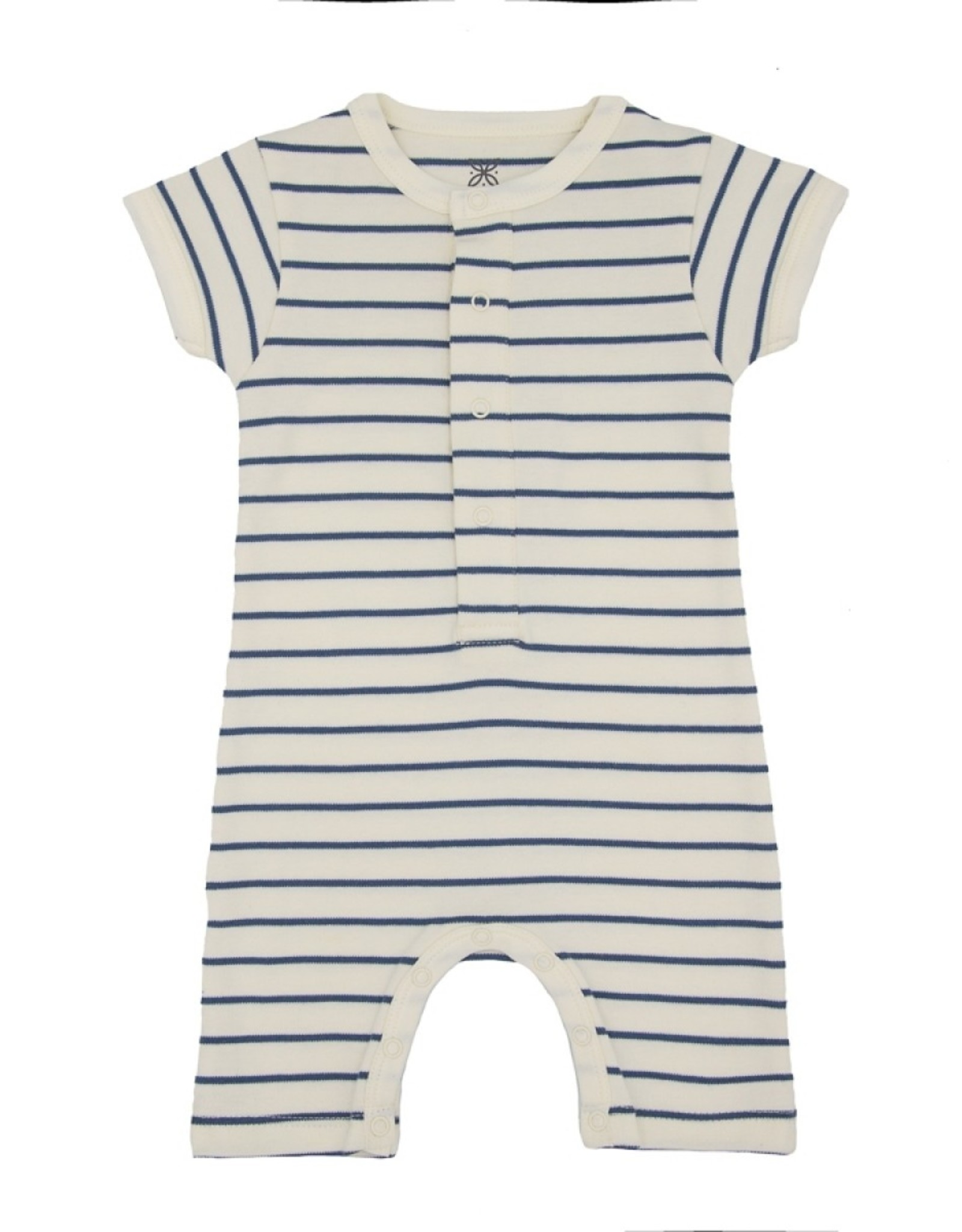 Lily & Mortimer Short Sleeve Romper- Navy Stripe
