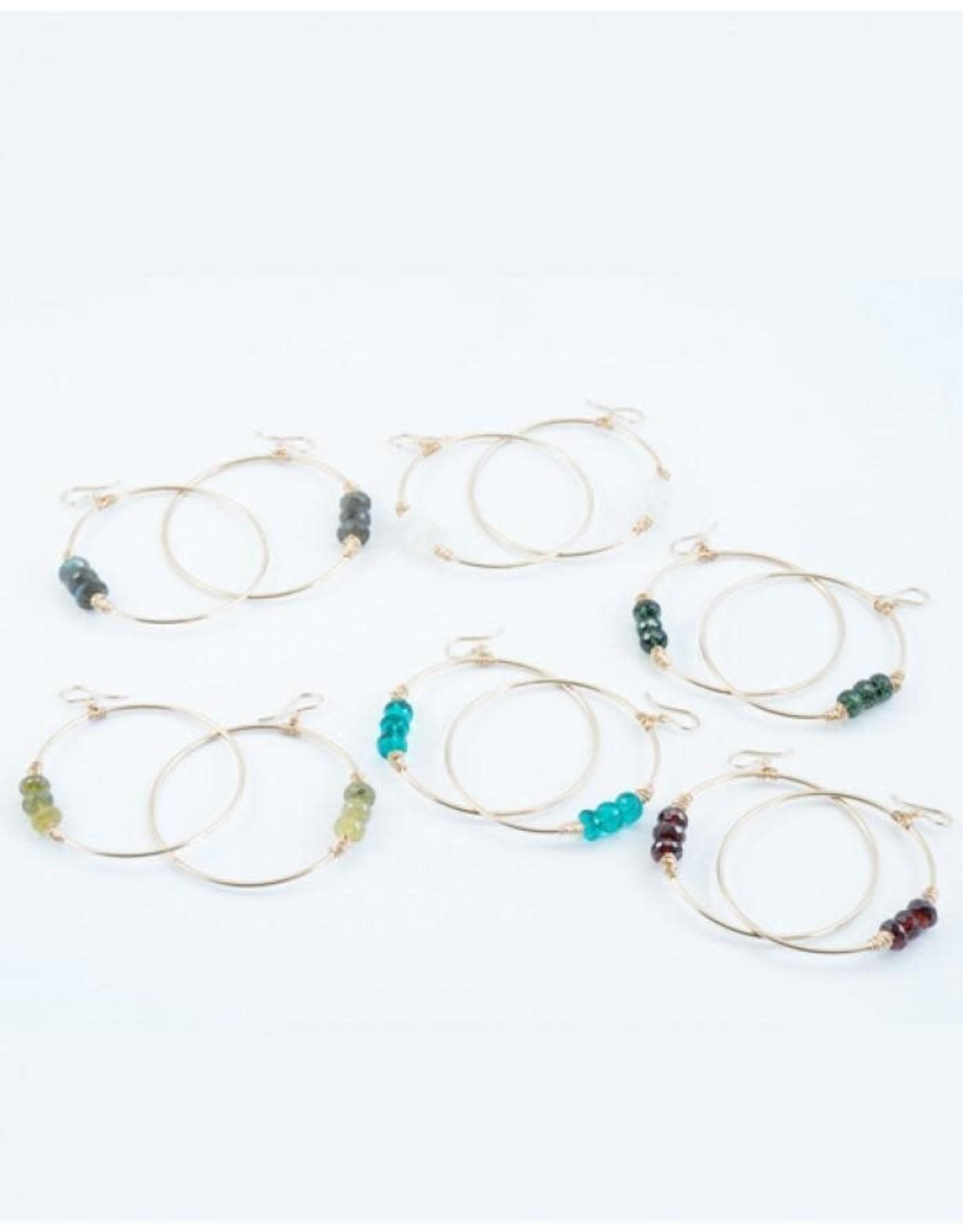Heaven Hoop Earrings- Silver with Amethyst