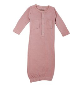 L'oved Baby Organic Cotton Baby Gown-Mauve