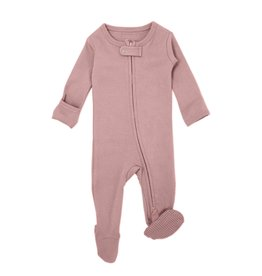 L'oved Baby Organic Zipper Footie- Mauve