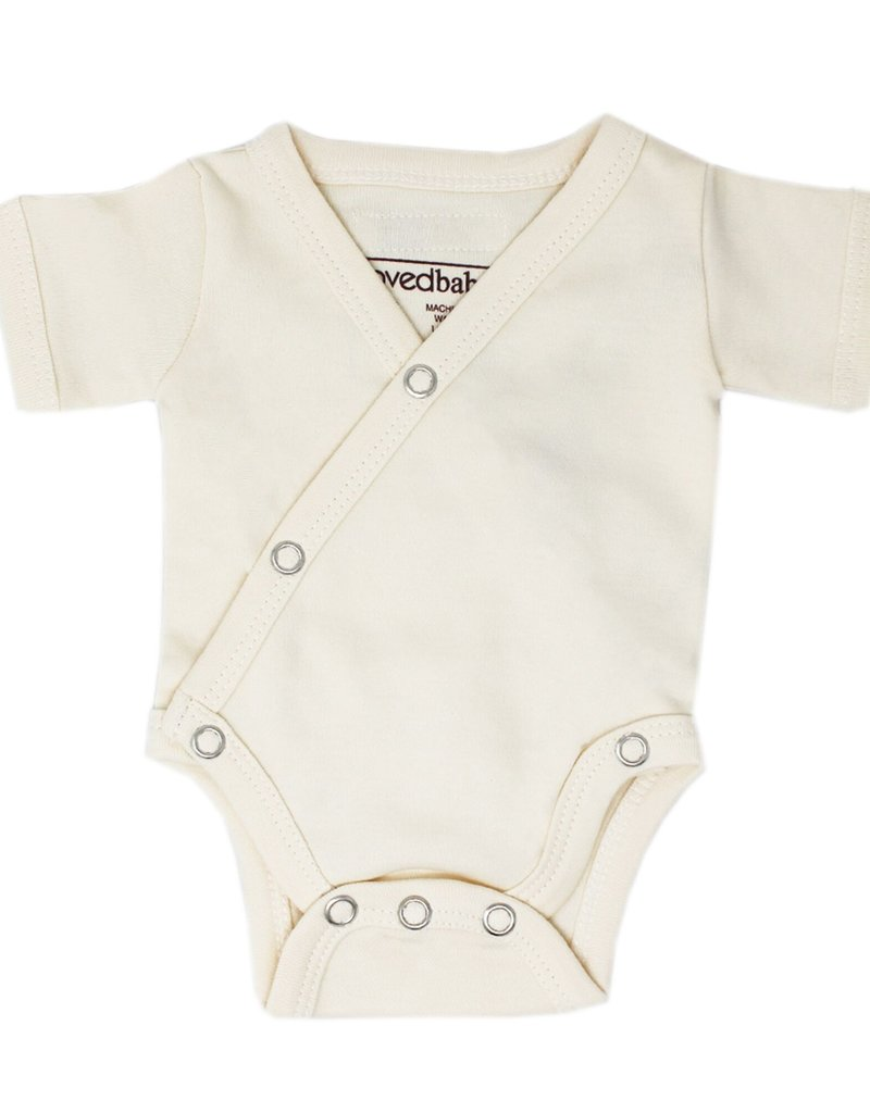 L'oved Baby Organic Cotton Short Sleeve Bodysuit- Beige