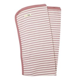 L'oved Baby Organic Stripe Swaddle Blanket- Mauve