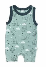 Finn & Emma Dumbo Romper- Blue with Clouds 3-6m