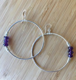 Heaven Hoop Earrings- Silver with Amethyst