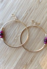 Heaven Hoop Earrings- Gold with Ruby