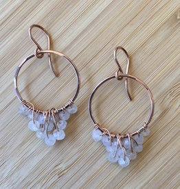 Cascading Hoop Earrings Rose Gold with Moonstone