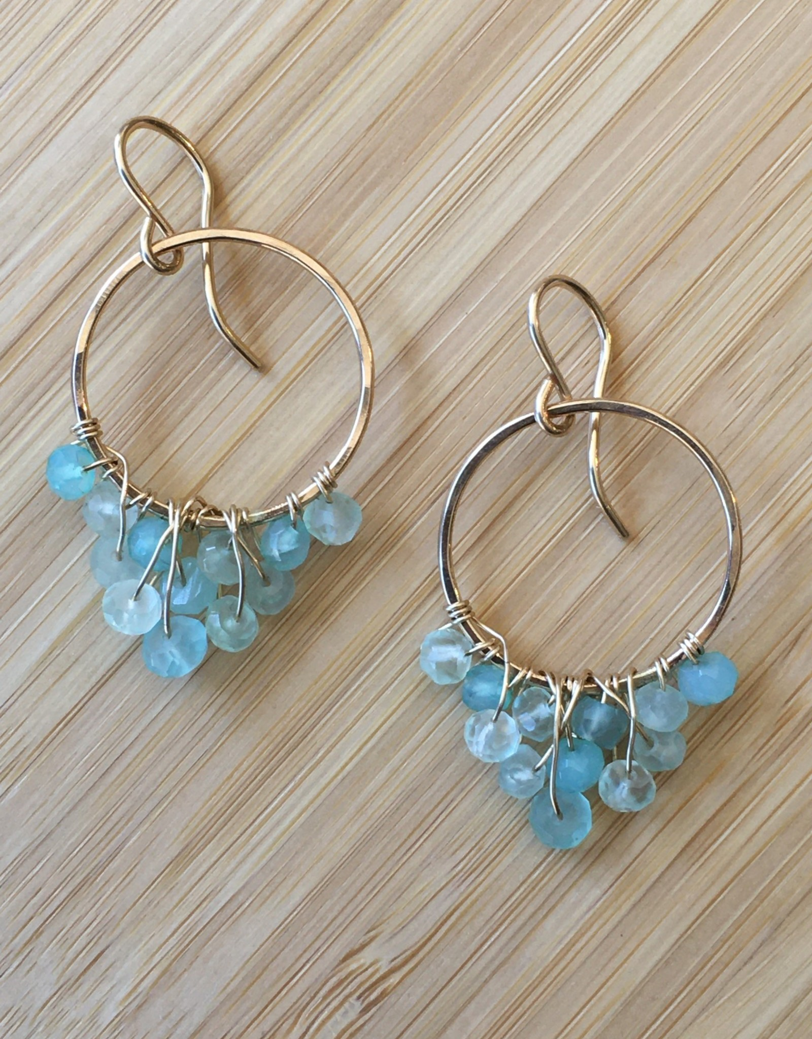 Cascading Hoop Earrings- Gold with Aqua Stone