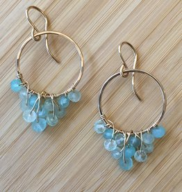 Cascading Hoop Earrings- Gold with Aqua Stone