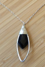 Marquis Pendant Necklace Silver with Black Onyx