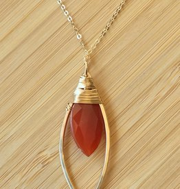 Marquis Pendant Necklace Gold with Carnelian