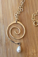 Robin's Jewelry Locally Made Reclaimed Gold with Pearl Necklace - Spiral