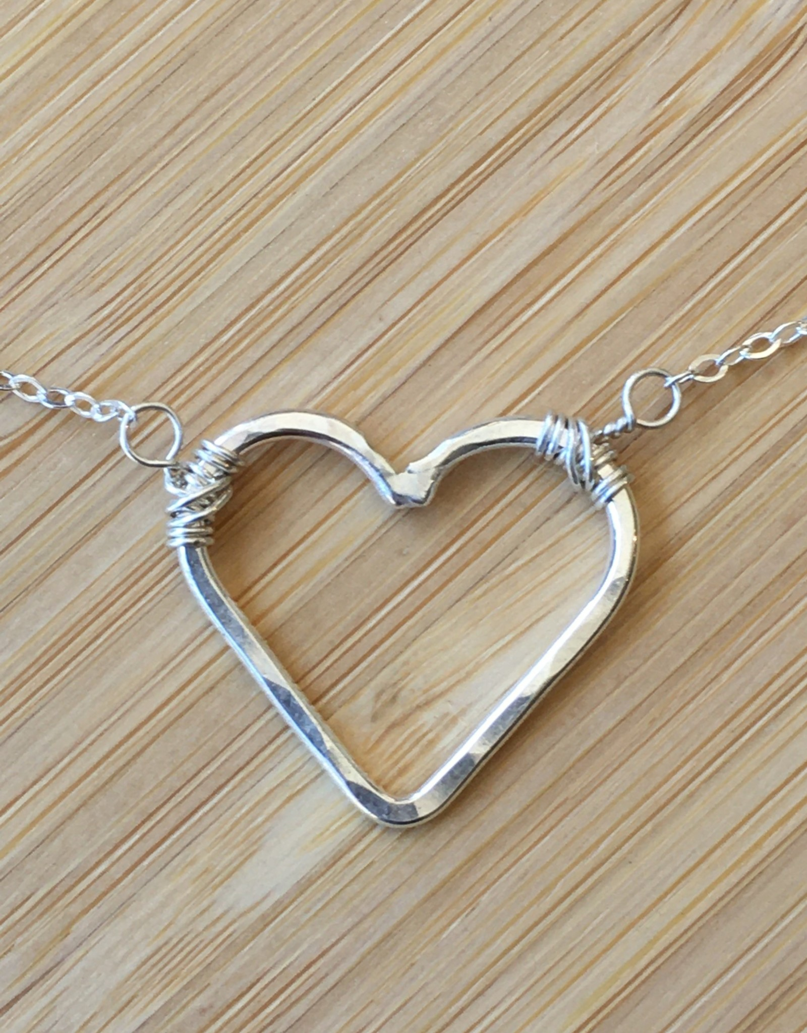 Open Heart Necklace- Silver