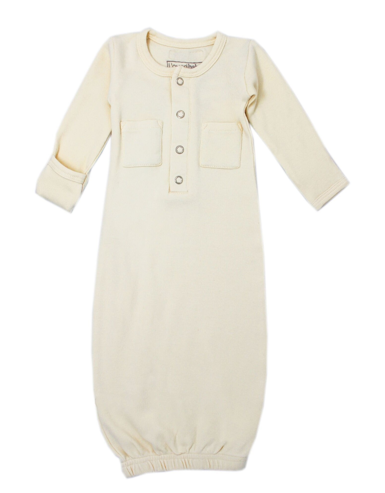 L'oved Baby Organic Cotton Baby Gown- Beige