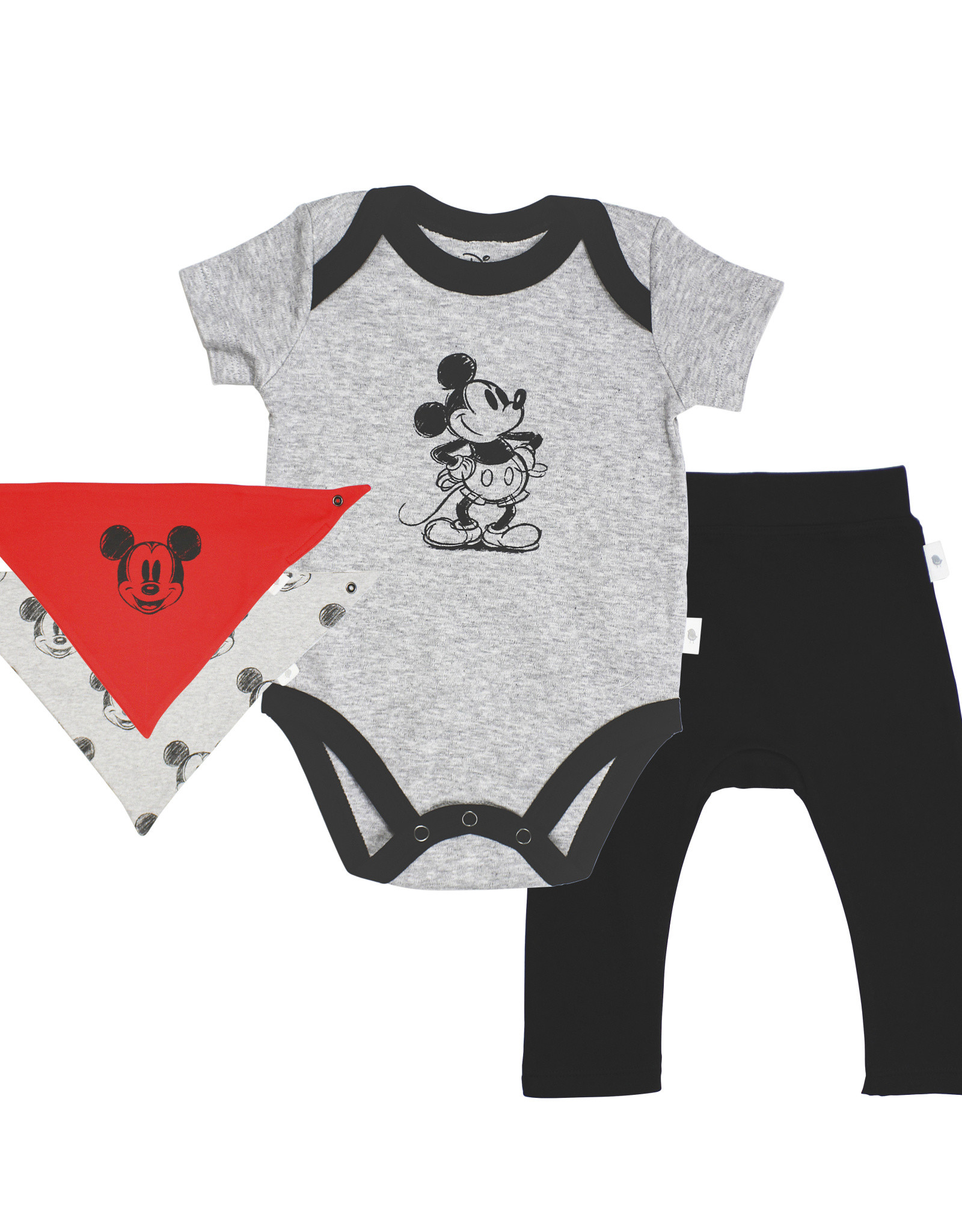 Finn & Emma Disney Bodysuit, Pants, & Bib Set Mickey Mouse 3-6m