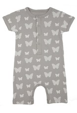 Lily & Mortimer Short Sleeve Romper- Gray Butterfly