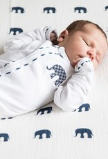 Lily & Mortimer Long Sleeve Footie- Navy Elephant