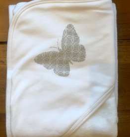 Lily & Mortimer Hooded Towel- Gray Butterfly