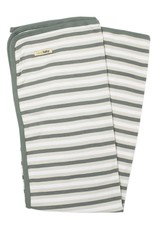 L'oved Baby Organic Stripe Swaddle Blanket- Seafoam