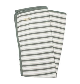 L'oved Baby Organic Stripe Swaddle Blanket- Seafoam