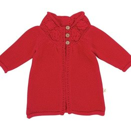 Tiny Twig Knit Floral Cardigan- Tomato