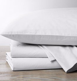 300TC Percale Pillowcase Set- Natural & Alpine White