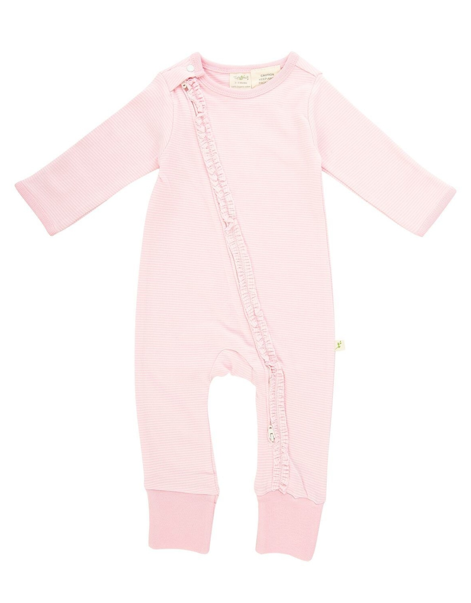 Tiny Twig Frill Zipsuit- Pink Stripes 9-12m