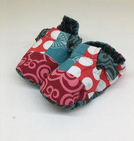 Scrappy Booties- Red Dots- 0-6m