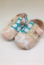 Scrappy Booties- Turquoise Dots- 6-12m