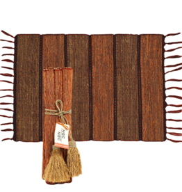 Vetiver Placemat Set of 6 - Brick Stripe