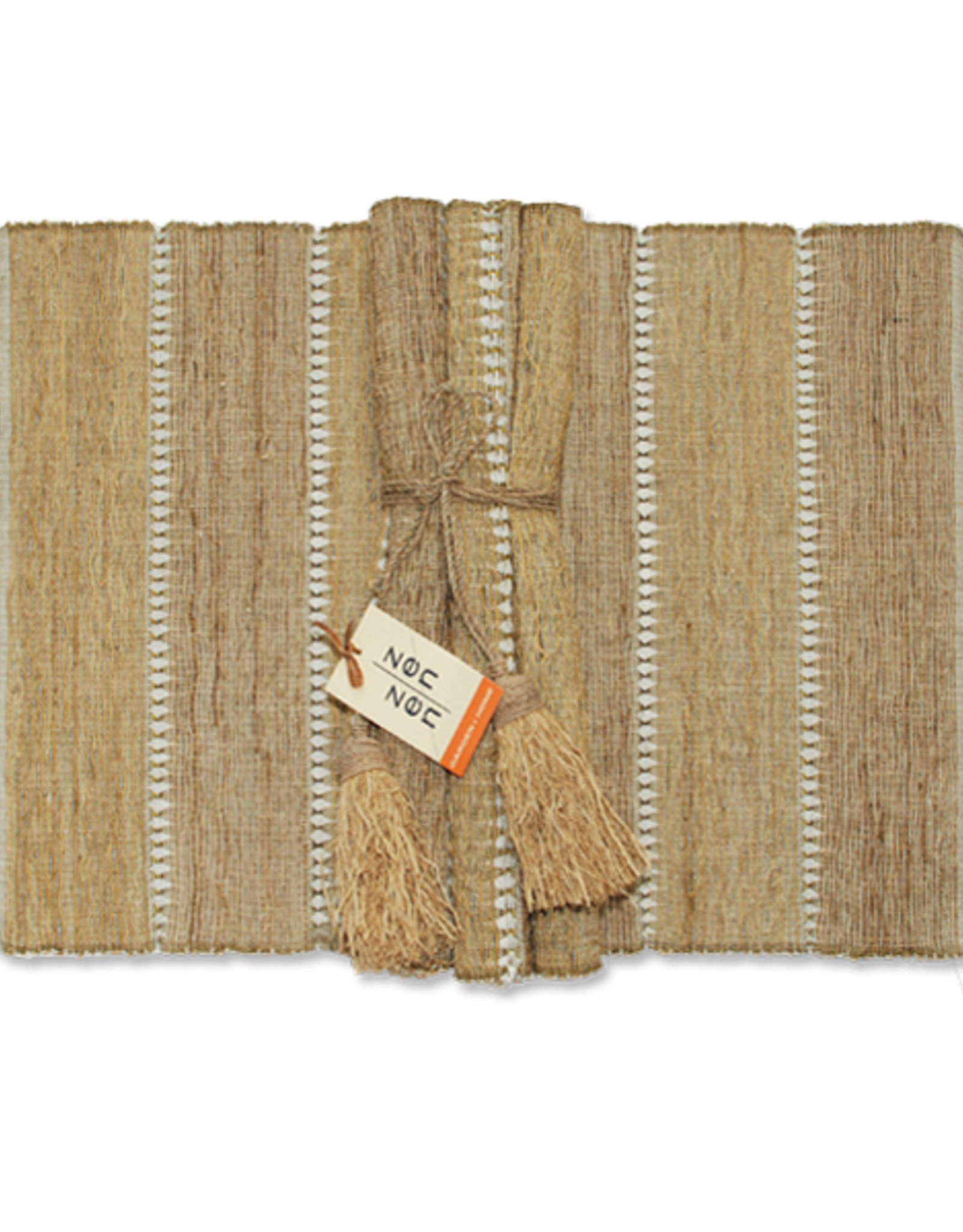 Vetiver Placemat Set of 6 - Beige Stripe