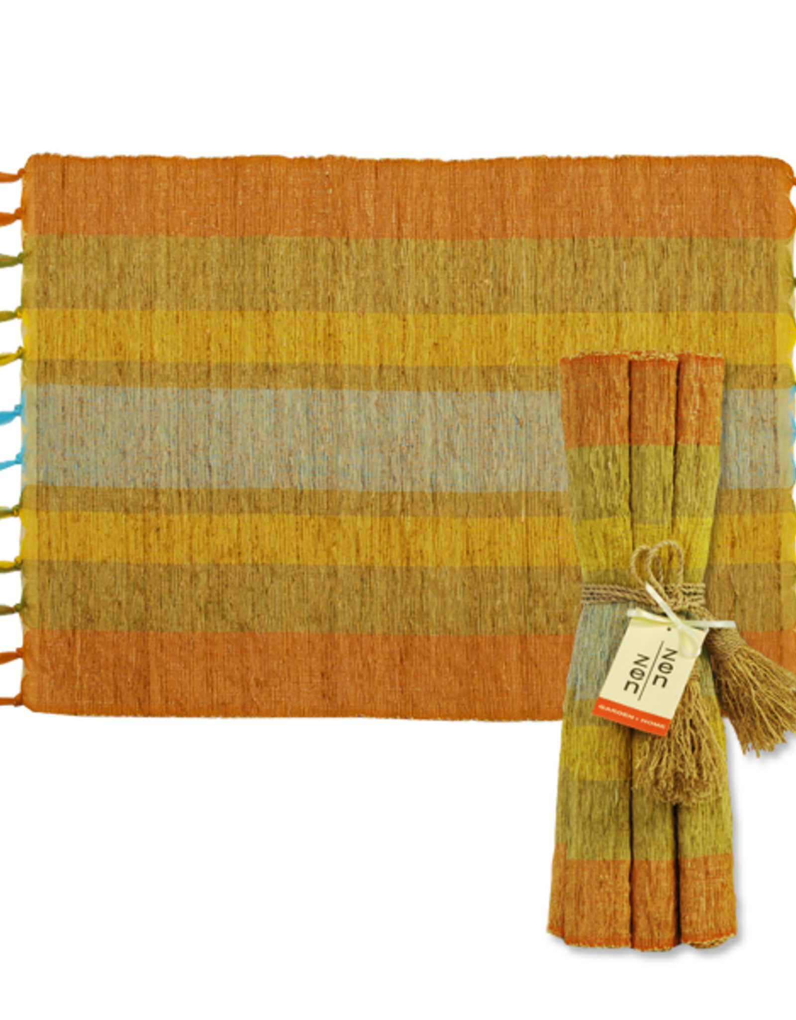Vetiver Placemat Set of 6 - Fiesta Citrus Stripe